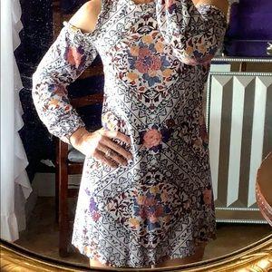 Boho floral tribal print cold shoulder shift dress